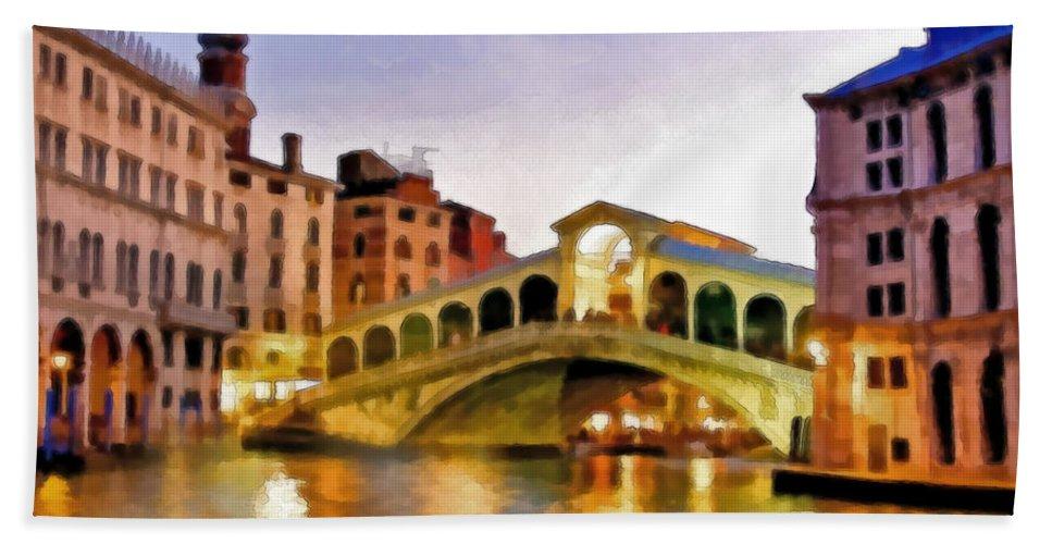 Watercolor Hand Towel featuring the mixed media Hot Venetian Nights by Georgiana Romanovna
