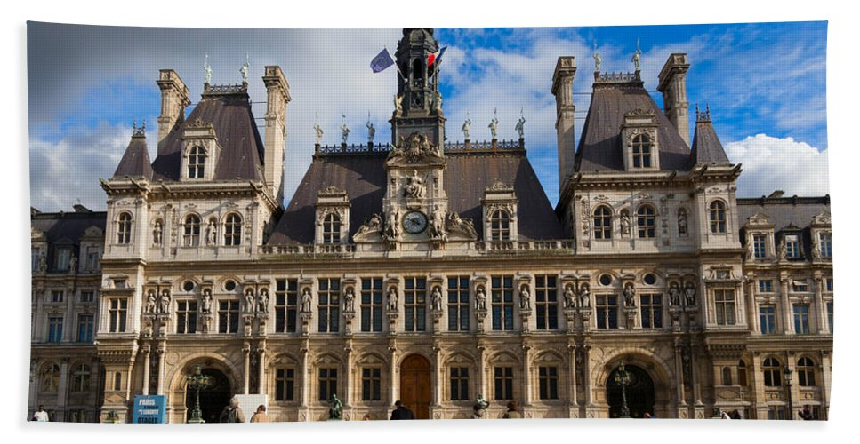 Hotel De Ville Bath Sheet featuring the photograph Hotel De Ville The Paris City Hall by Louise Heusinkveld