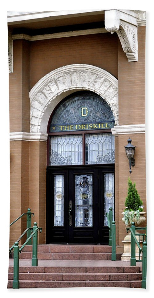 Driskill Hotel Photograph Bath Towel featuring the photograph Hotel Door Entrance by Kristina Deane