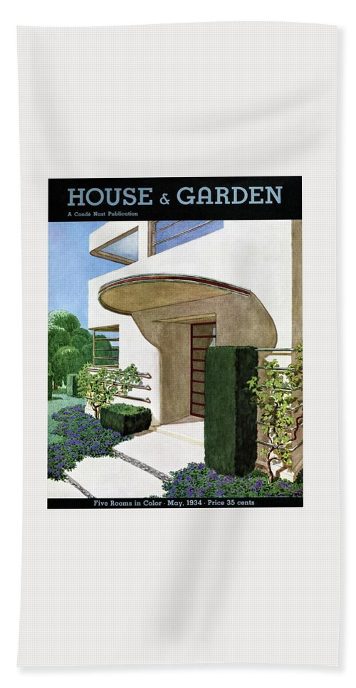 House & Garden Bath Towel featuring the photograph House & Garden Cover Illustration Of A Modern by Pierre Brissaud