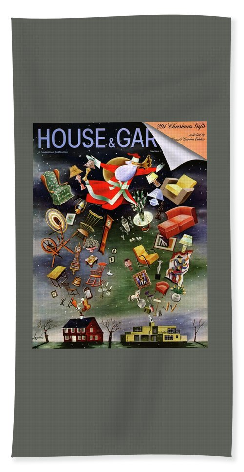 House And Garden Bath Towel featuring the photograph House And Garden Christmas Gifts Cover by Constantin Alajalov