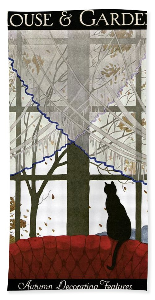 Illustration Bath Towel featuring the photograph House And Garden Cover by Andre E. Marty
