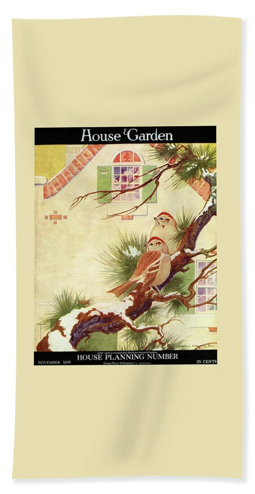 Illustration Bath Towel featuring the photograph House And Garden Cover by Charles Livingston Bull