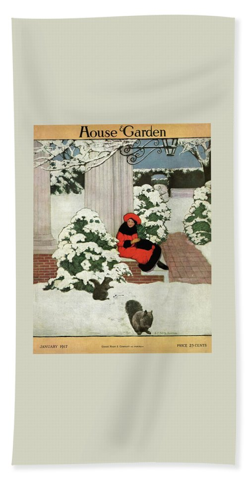 House And Garden Bath Towel featuring the photograph House And Garden Cover by Ethel Franklin Betts Baines