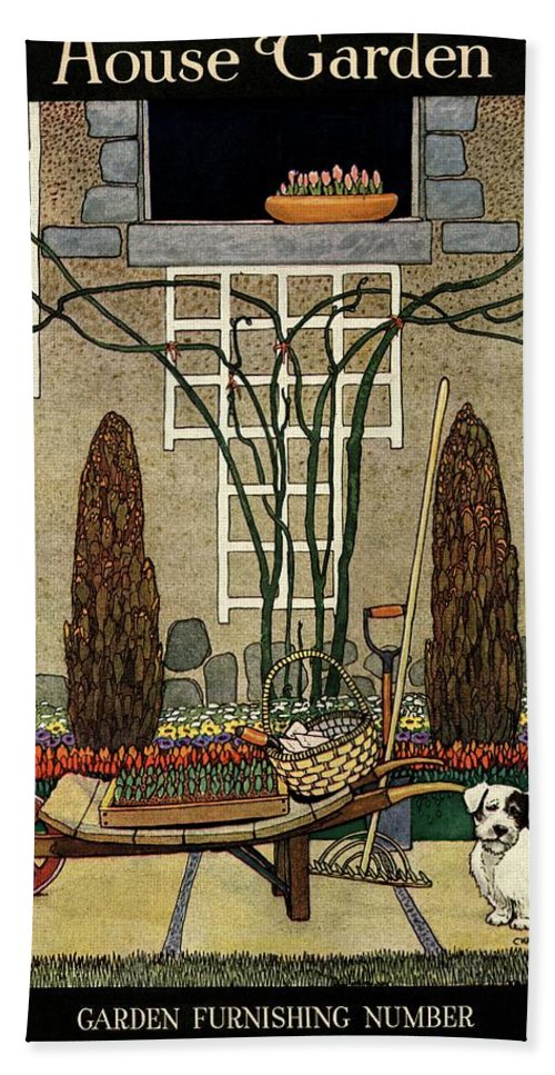 House And Garden Bath Towel featuring the photograph House And Garden Garden Furnishing Number Cover by Charles Livingston Bull