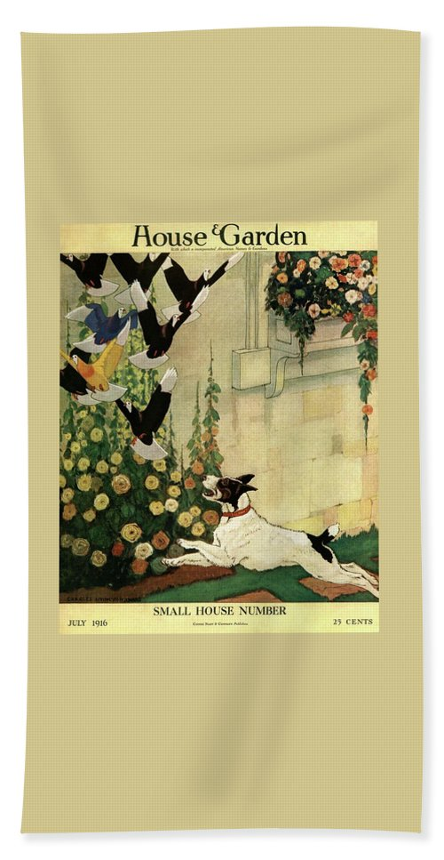 House And Garden Bath Towel featuring the photograph House And Garden Small House Number Cover by Charles Livingston Bull