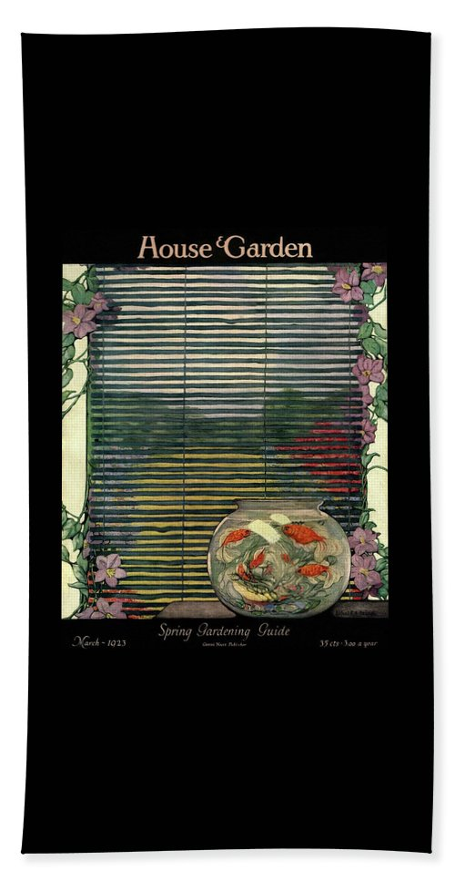 Animal Bath Towel featuring the photograph House And Garden Spring Gardening Guide Cover by Ethel Franklin Betts Baines