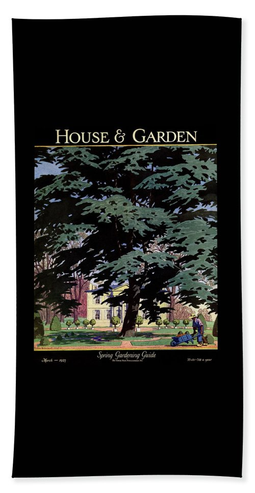 House And Garden Bath Towel featuring the photograph House And Garden Spring Gardening Guide Cover by Pierre Brissaud