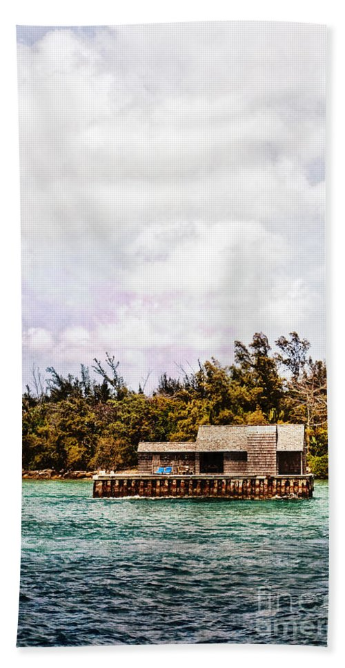 House; Houseboat; Water; Floating; Island; Deserted; Tropical; Waterfront; Bahamas; Shallow; Blue; Sky; Clouds; Deck; Trees; Building; Wood; Chairs; Outside; Outdoors; Exterior; Cottage; Home; Tropics; Ocean; Sea; Lake Hand Towel featuring the photograph House Boat by Margie Hurwich