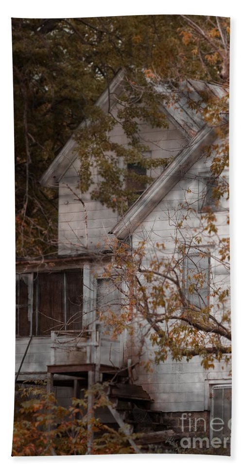 Abandoned; Home; House; Old; Farmhouse; Spooky; Peeling Paint; Derelict; Neglected; Sidewalk; Creepy; Dark; Entrance; Stairs; Door; Haunted; Porch; Eerie; Scary; Ruin; Mood; Gloomy; Rural Hand Towel featuring the photograph House In Fall by Margie Hurwich
