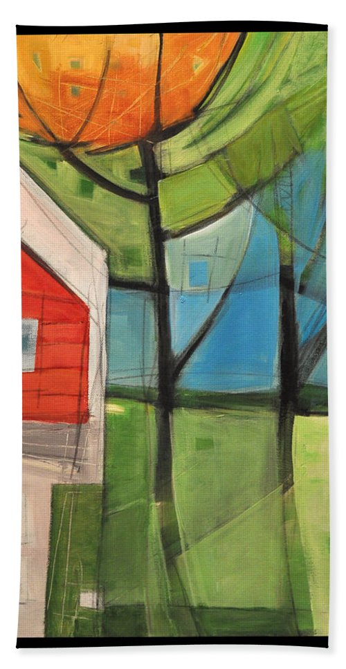 House Hand Towel featuring the painting House In The Trees by Tim Nyberg