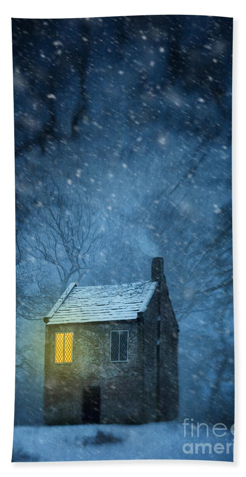 House Bath Sheet featuring the photograph House In Woodland In Winter by Lee Avison