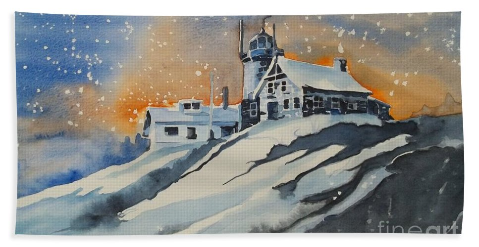House On Hill Hand Towel featuring the painting House On Hill by Lise PICHE