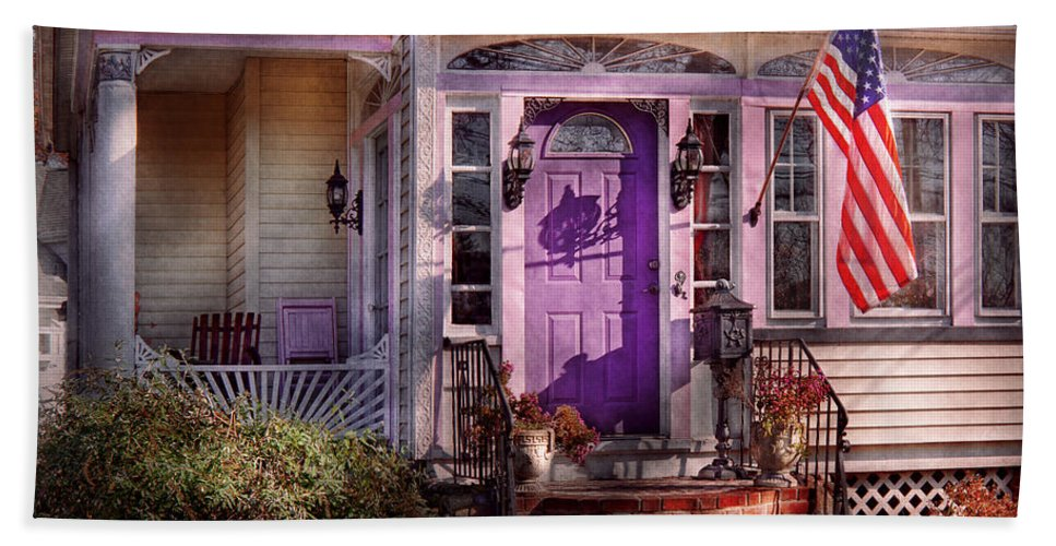 Victorian Hand Towel featuring the photograph House - Porch - Cranford Nj - Lovely In Lavender by Mike Savad