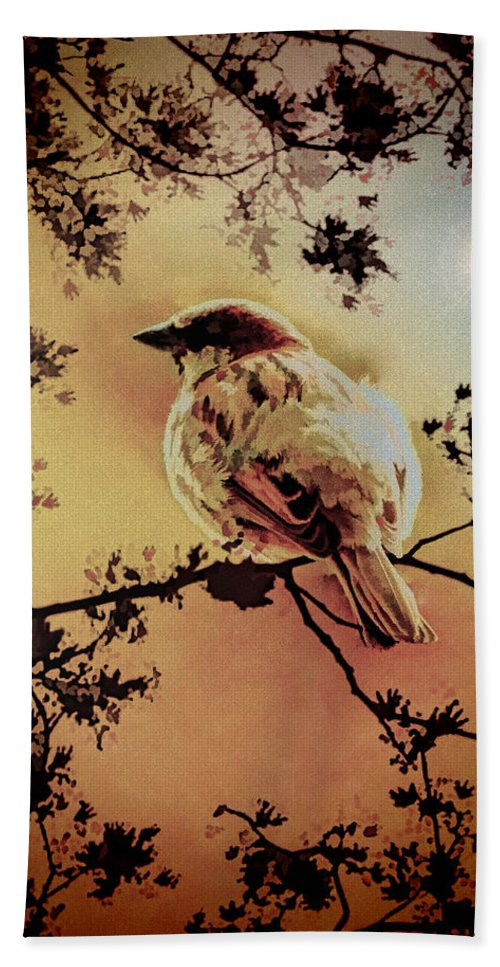 Sparrow Hand Towel featuring the mixed media House Sparrow by Lyriel Lyra