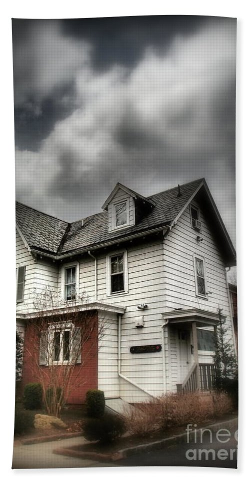 House Bath Sheet featuring the photograph House With Brick Front - American Gothic by Miriam Danar