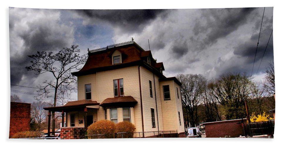 Haunted House Bath Sheet featuring the photograph House With Storm Approaching by Miriam Danar