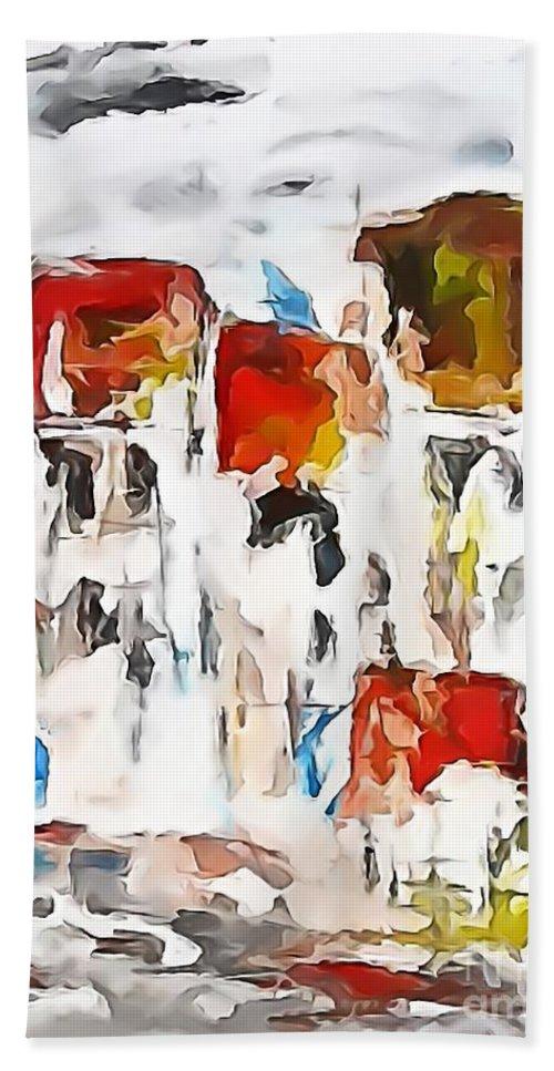 Graphics Hand Towel featuring the digital art Houses 0268 Marucii by Marek Lutek