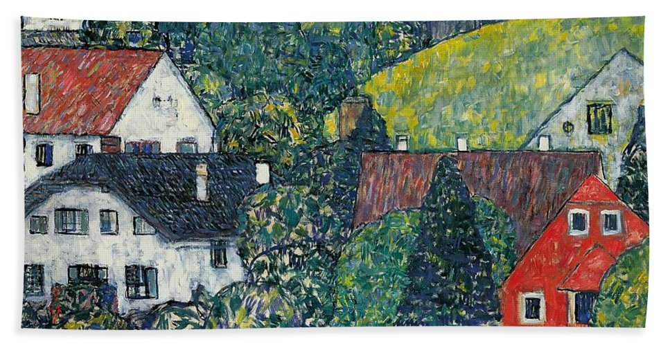 Klimt Bath Towel featuring the painting Houses At Unterach On The Attersee by Gustav Klimt