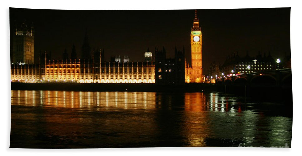 London Bath Sheet featuring the mixed media Houses Of Parliament - London by Doc Braham