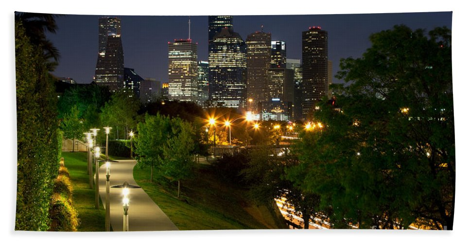 Houston Hand Towel featuring the photograph Houston At Night by Bill Cobb
