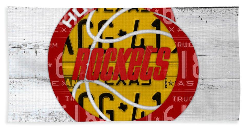 d59712f5942 Houston Bath Towel featuring the mixed media Houston Rockets Basketball  Team Retro Logo Vintage Recycled Texas