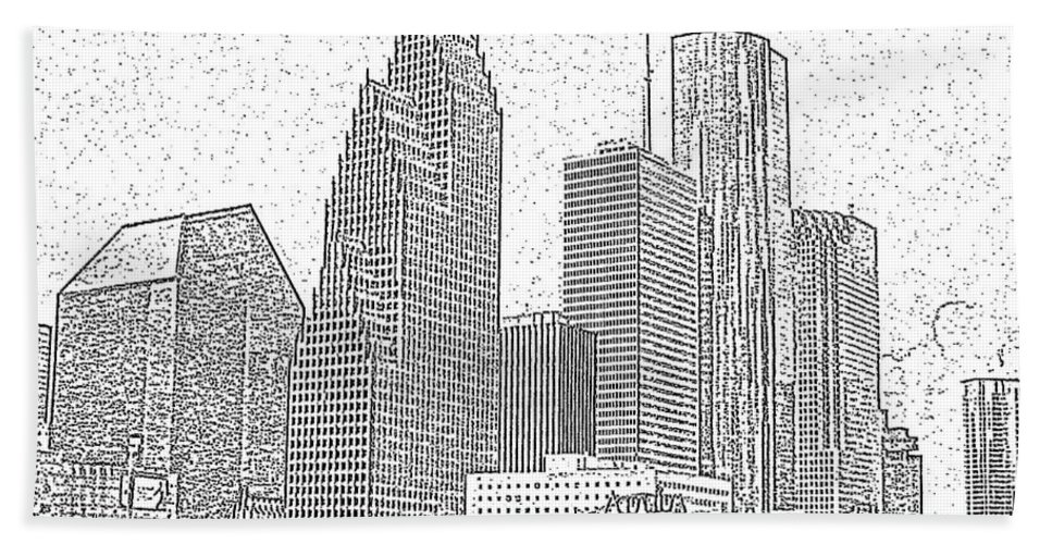 Skyscape Hand Towel featuring the photograph Houston Skyline Abstract by Jeanne A Martin