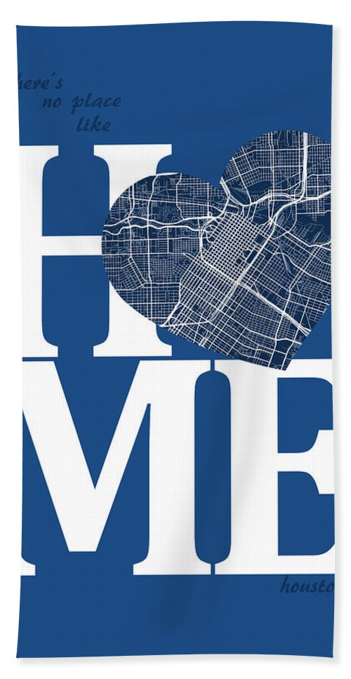 Road Map Hand Towel featuring the digital art Houston Street Map Home Heart - Houston Texas Road Map In A Hear by Jurq Studio