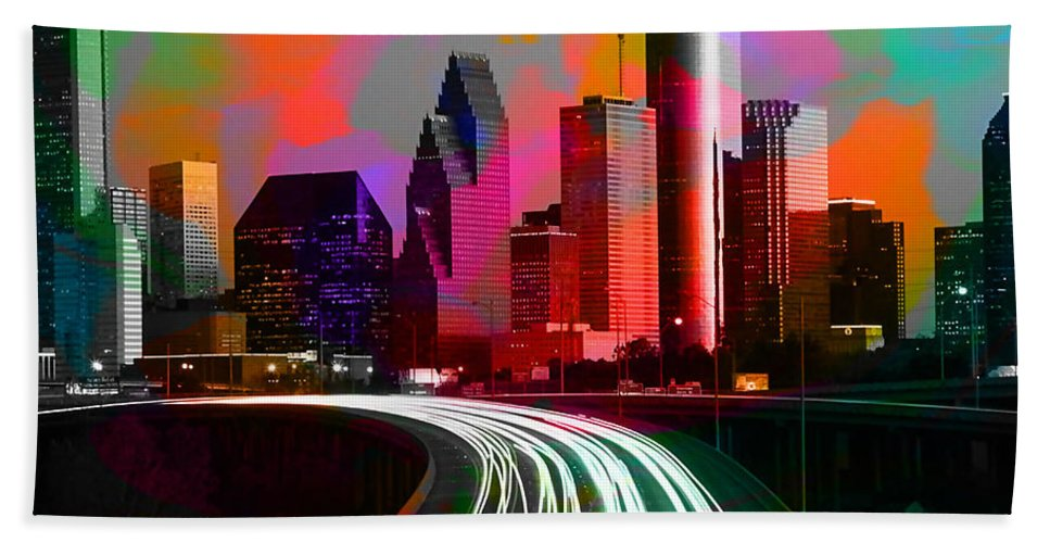 Houston Texas Hand Towel featuring the mixed media Houston Texas Skyline by Marvin Blaine