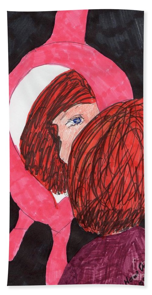 Pick Framed Mirror Red Haired Girl Hand Towel featuring the mixed media How Do I Look by Elinor Helen Rakowski