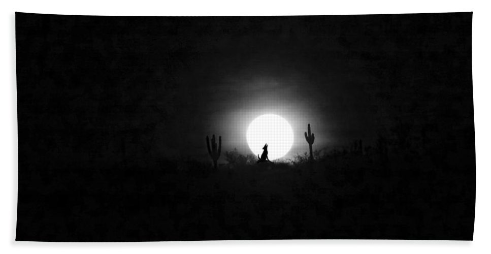 Anne Mott Bath Sheet featuring the photograph Howling At The Moon by Anne Mott