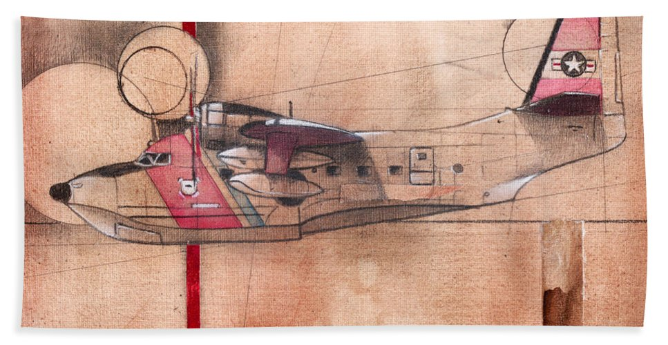 Aviation Bath Sheet featuring the painting Hu 16 Albatross by Sean Parnell