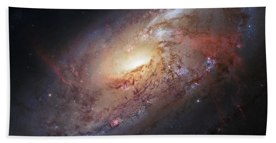 3scape Bath Towel featuring the photograph Hubble view of M 106 by Adam Romanowicz
