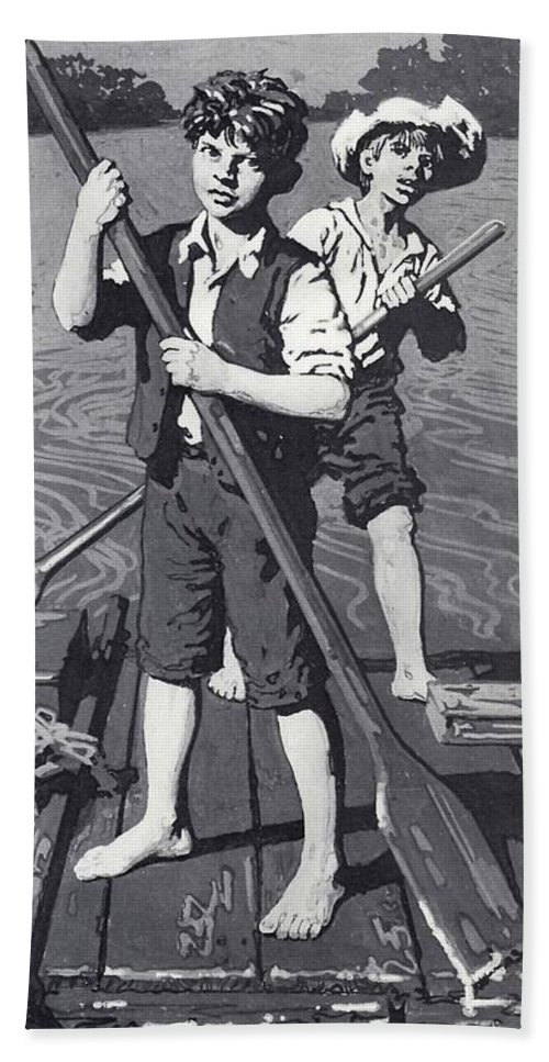 huckleberry finn and tom sawyer hand towel for sale by english school. Black Bedroom Furniture Sets. Home Design Ideas