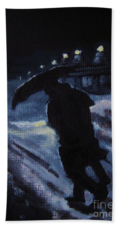 Winter Hand Towel featuring the painting Huddling Through The Storm by John Malone