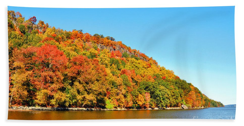 New Jersey Palisades Autumn Foliage Bath Sheet featuring the photograph Hudson River Fall Foliage by Regina Geoghan