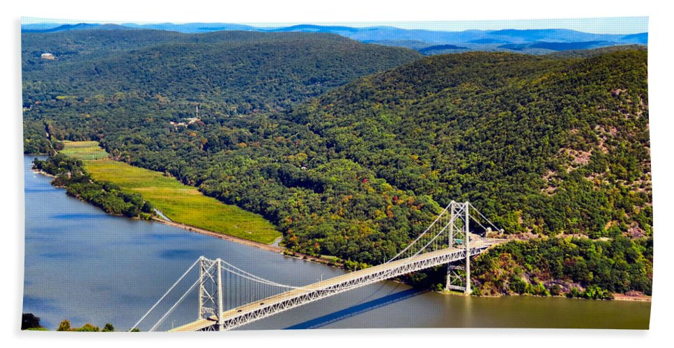 Sky Bath Sheet featuring the photograph Bear Mountain Bridge by Art Dingo