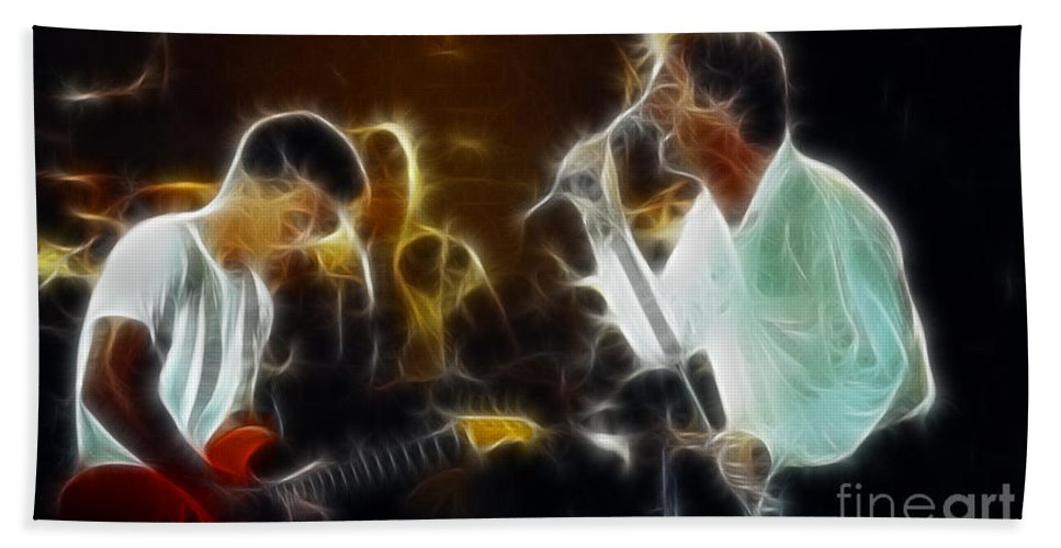 Huey Lewis Bath Sheet featuring the photograph Huey Lewis-chris-gd15a-fractal-1 by Gary Gingrich Galleries