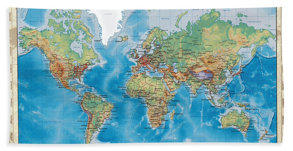 Huge Hi Res Mercator Projection Physical And Political Relief World Map  Bath Towel