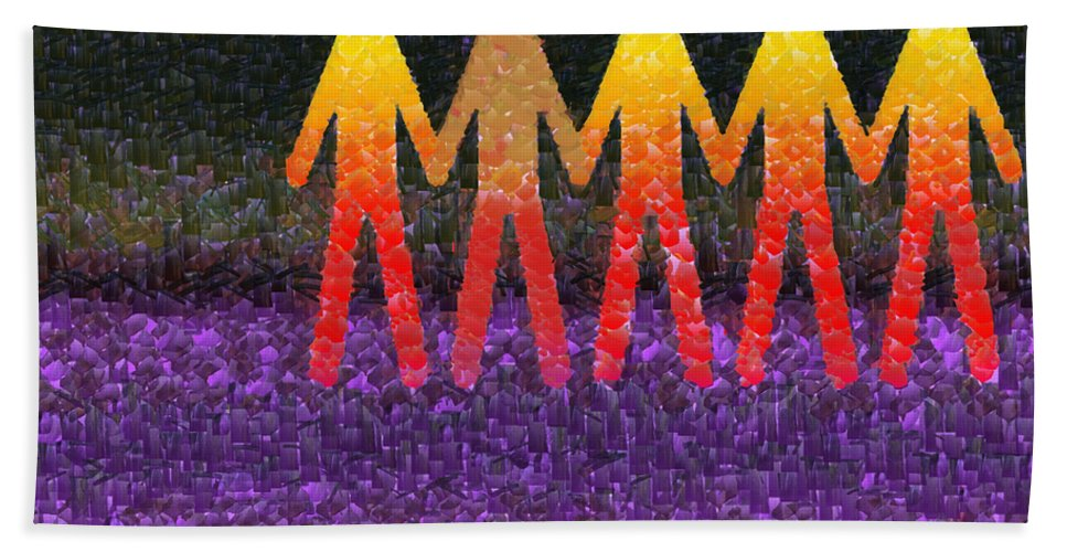 Colored Hand Towel featuring the mixed media Human Race 2 by Angelina Vick