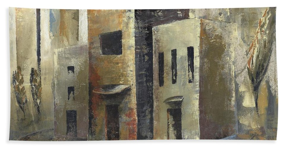 Cityscape Hand Towel featuring the painting 'humbled Today' by Whitney Tomlin