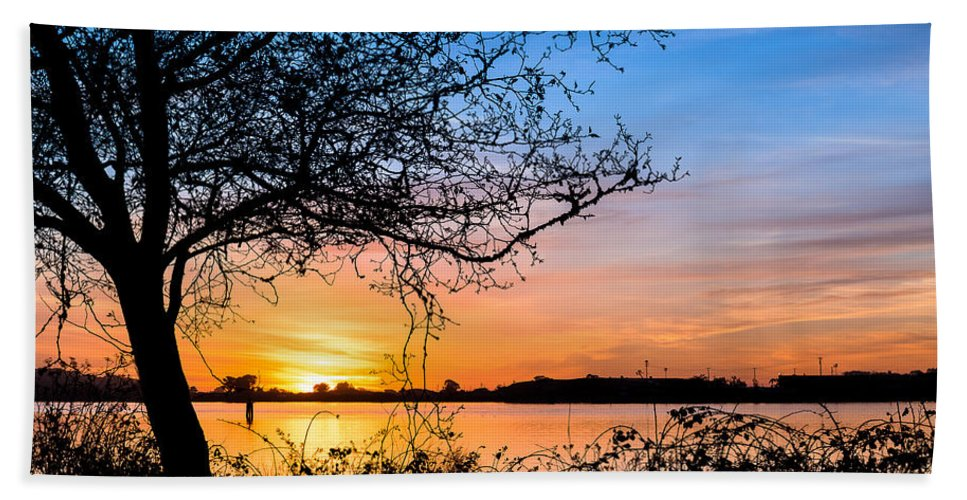 Humboldt Bay Hand Towel featuring the photograph Humboldt Bay Autumn Sunset 1 by Greg Nyquist