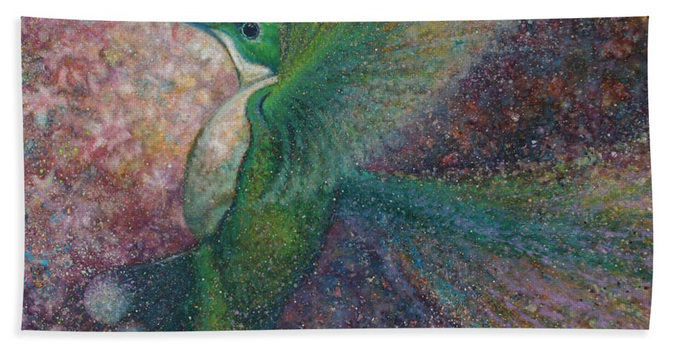 Wildlife Bath Sheet featuring the painting Hummer I by Robyn Ryan