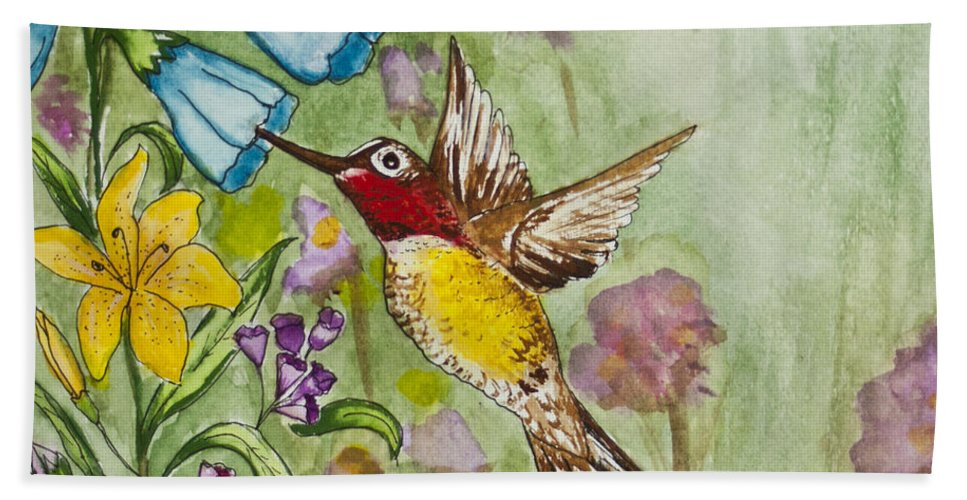 Humming Bird Bath Sheet featuring the painting Humming Bird by Janis Lee Colon