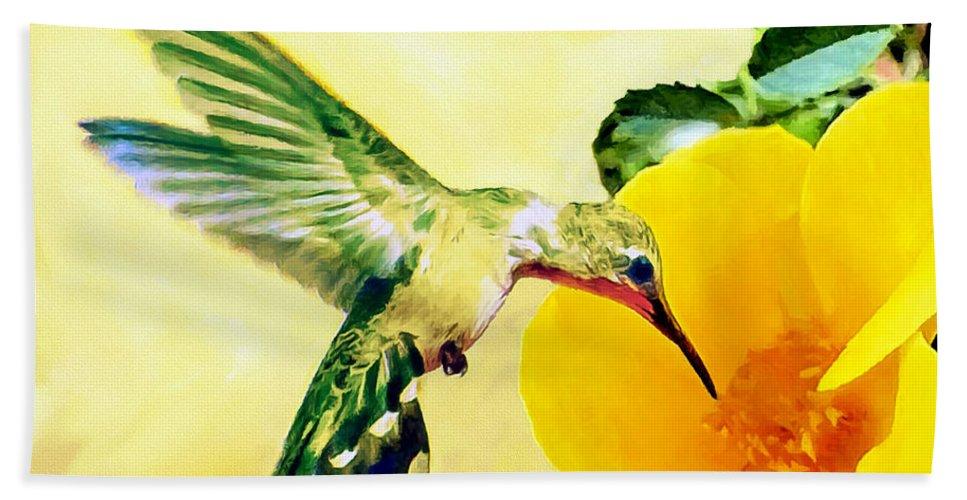 Hummingbird Bath Sheet featuring the photograph Hummingbird And California Poppy by Bob and Nadine Johnston