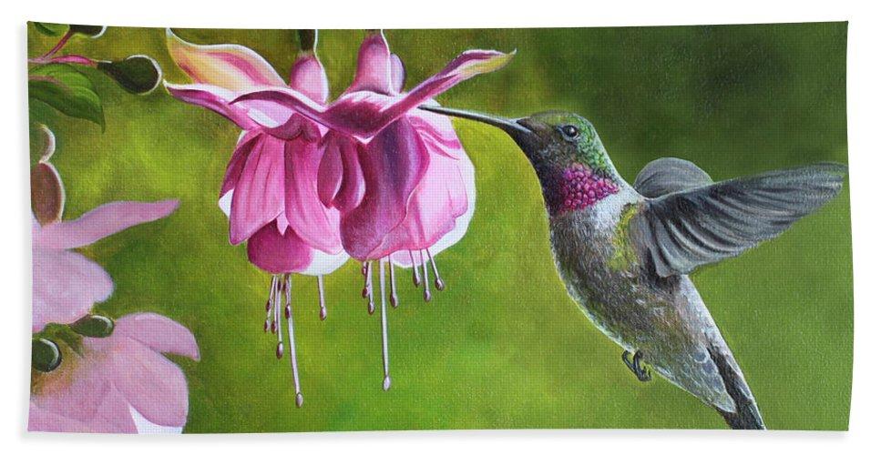 Hummingbird Hand Towel featuring the painting Hummingbird And Fuschia by Debbie Hart