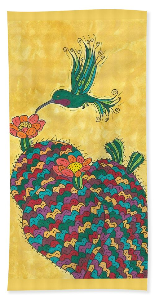 Prickly Pear Hand Towel featuring the painting Hummingbird And Prickly Pear by Susie Weber