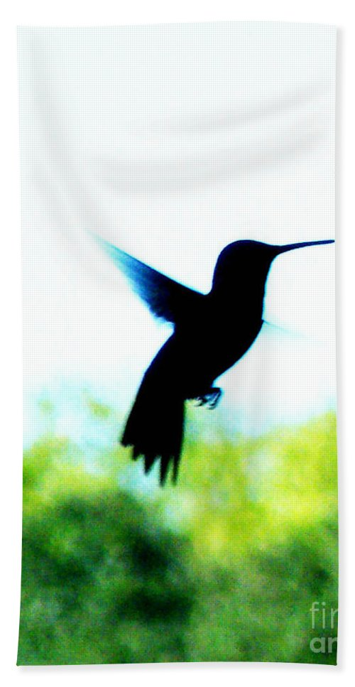 Hummingbird Hand Towel featuring the digital art Hummingbird Hover by Lizi Beard-Ward