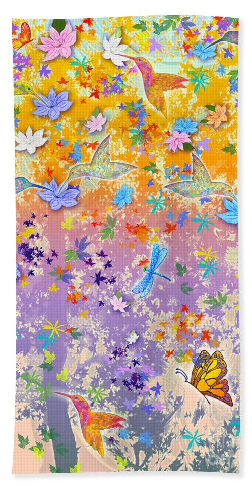 Hummingbirds Hand Towel featuring the painting Hummingbird Spring by Teresa Ascone