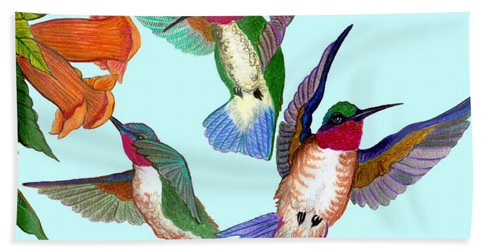 Hummingbirds Hand Towel featuring the drawing Hummingbirds by Anthony Seeker